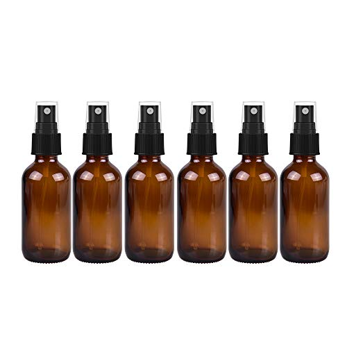2oz 60ml Empty Amber Glass Spray Bottles,Refillable Containers for Essential Oils, Cleaning Products, Aromatherapy, Durable Black Trigger Sprayer Fine Mist 6 Pack
