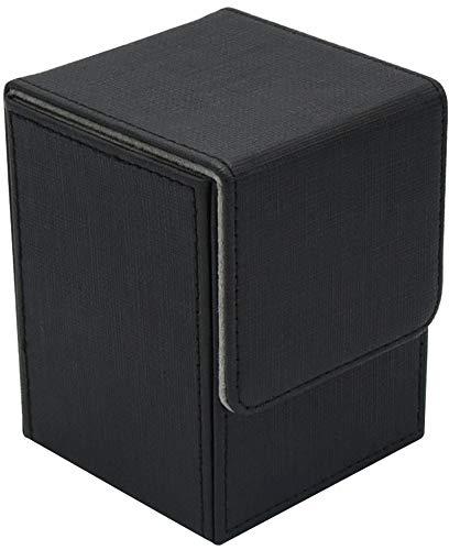 Bridge house デッキケース レザー マグネットカバー 約100枚収納 カードケース トレーディングカード (ブラック)