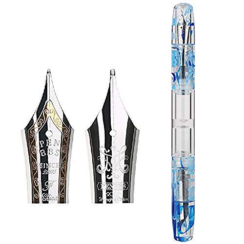 PENBBS 469-79 Füllfederhalter, feine & mittelgroße Doppelspitze, blaues Acryl-Schreibgerät mit Kugelschreiber, in Geschenkbox