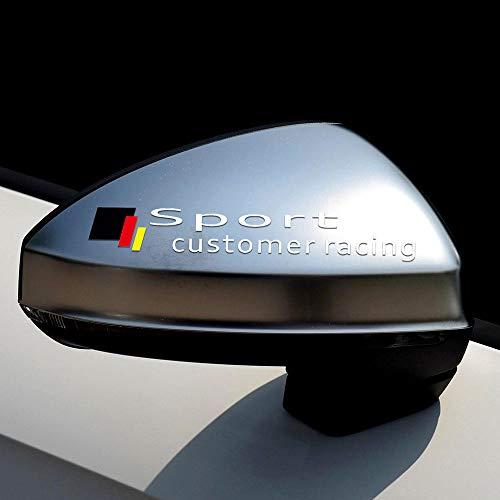 DSYCAR 1 par Deporte Cliente Carreras Coche Espejo retrovisor Pegatina calcomanía Vinilo Pegatina calcomanía Raya Pegatina para Audi A6 A7 A8 (Blanco)