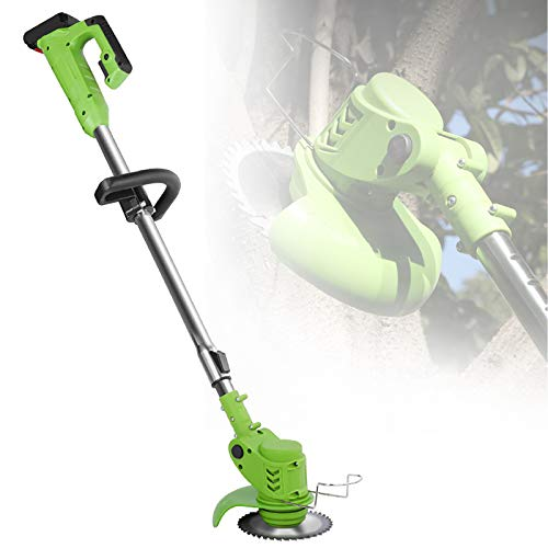 ZZJCY Lightweight String Trimmer, 24 Volt Lithium-Ion Cordless Lawn Mower with Multi-Angle Adjustment, Handheld Grass Trimmer Edger Only 7. 5 Pounds, for Garden Courtyard Pruning