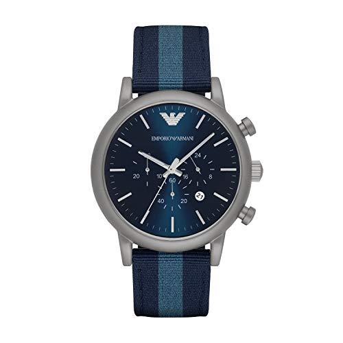 EMPORIO ARMANI Reloj Unisex de Analogico Correa en Nailon AR1949, Azul