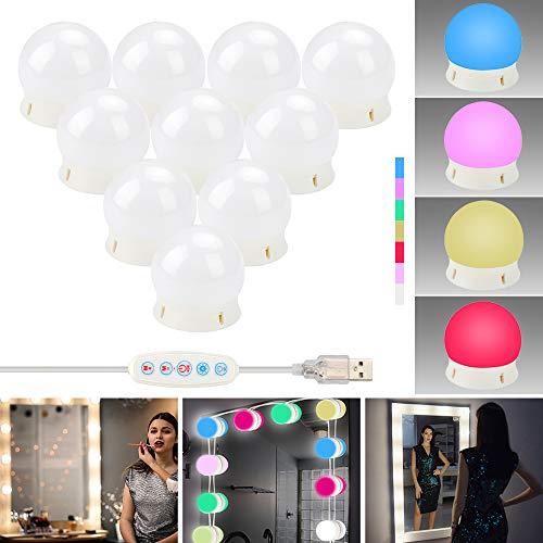 ZHENREN LED Vanity Spiegellampen, Hollywood Stijl Make Up Spiegellampen Kit met 10 Dimbare Lampen, Verstelbare RGB Kleur DIY, Stick op Verlichting Fixture Strip voor Vanity Set Dressing Room Badkamer