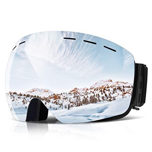 Orlegol Skibrille, Snowboard Brille Doppel-Objektiv UV-Schutz Anti-Fog OTG Winddicht Schneebrille, Helmkompatible Snowboardbrille Ski Schutzbrille, Ski Goggles für Damen und Herren, Jungen und Mädchen