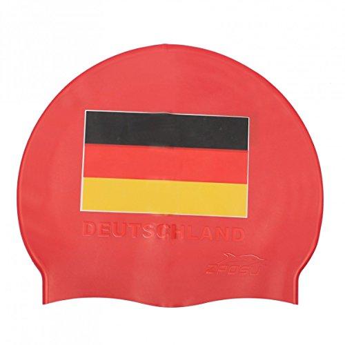 ZAOSU Unisex Badekappe Deutschland | Silikon Schwimmhaube für Erwachsene und Kinder, Farbe:rot