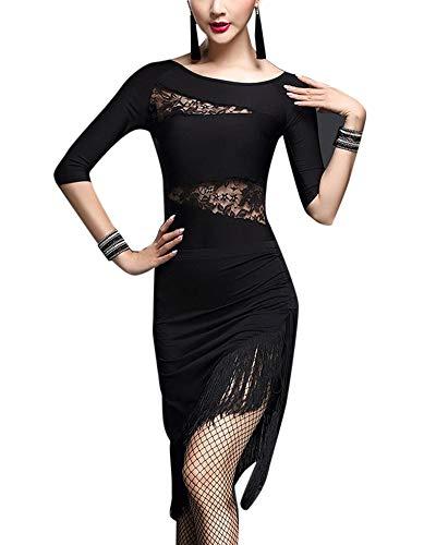 Mengmiao Damen Halbe Ärmel Lateinischer Tanz Kostüme Tango Party Wettbewerb Fringed Hem Kleiden Schwarz M