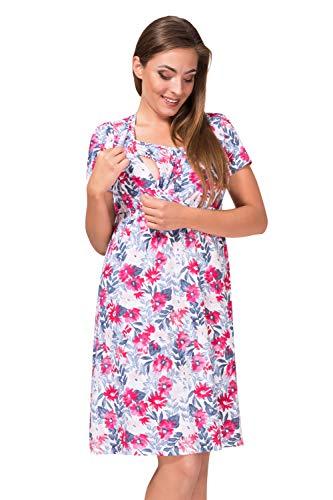 Sibinulo Damen Umstands Nachthemd mit Stillfunktion Stillshirt Kurzarm V-Ausschnitt Mohnblumen L