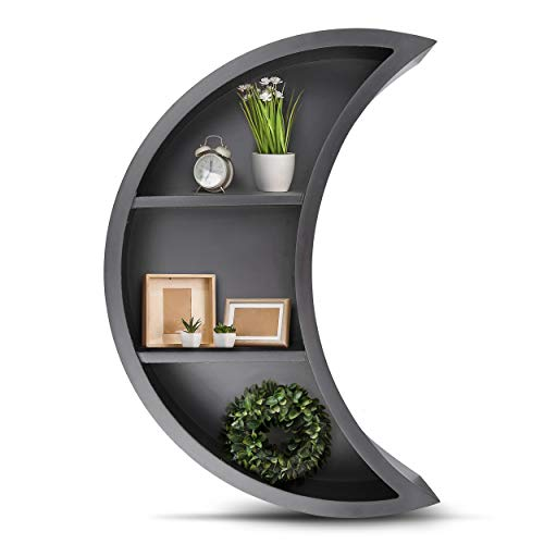 Black Moon Shelf - Mounted Wooden Floating Shelf Easy to Hang Stylish Moon Decor for Bedroom Living Room Bathroom Nursery or Kitchen Display or Store Items and Books