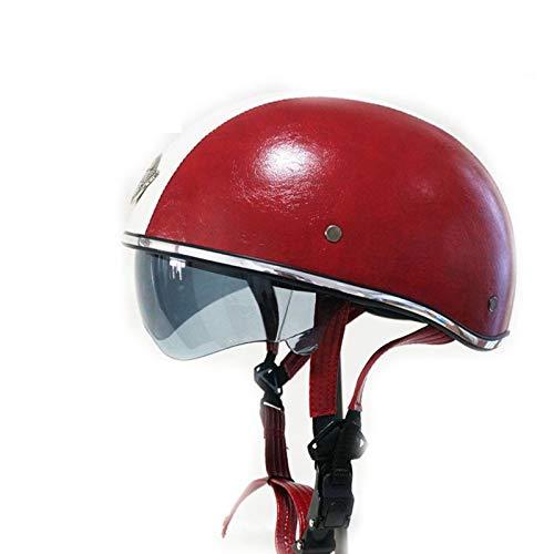 ABDOMINAL WHEEL Casco de Motorista Adulto,Casco de Motorista Jet con Visera UV Gafas,Certificación ECE Hombres Y Mujeres Casco Ciclomotor,Hebilla De Liberación Rápida B,55~61CM