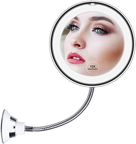 10X Magnifying Makeup Mirror, LED Mirror Adjustable Flexible Gooseneck & Locking Suction Cosmetic Mirror, Magnification Mirrors, 360° Swivel Wall Mirror, Vanity Mirror for Bedroom Bathroom