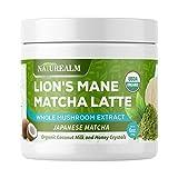 Naturealm Lion's Mane Mushroom Matcha Latte - USDA Organic - Premium Japanese Matcha, Lions Mane Extract Powder, Coconut Milk and Honey Crystals - 6oz.