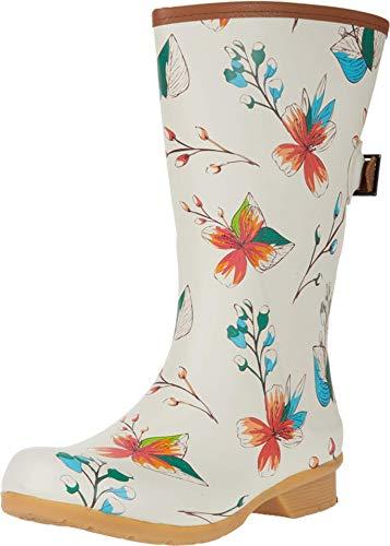 Chooka womens Tropics Bainbridge Adjustable Mid Boot Rain Shoe, Cream, 9 US