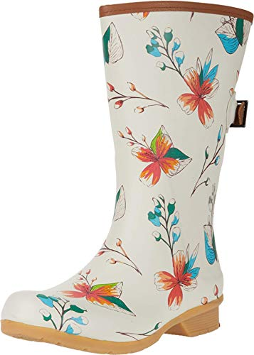 Chooka womens Tropics Bainbridge Adjustable Mid Boot Rain Shoe, Cream, 7 US