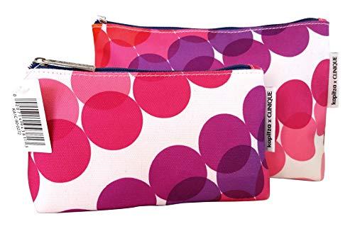 Clinique Makeup Bag Set - Orange  Red & Purple Flowers (2 bags)