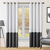 HOMEIDEAS 2 Panels Color Block Curtains Greyish White/Grey Blackout Curtains, 52 X 96 Inch White Room Darkening Curtains for Bedroom, Thermal Insulated Grommet Drapes Window Curtains for Living Room