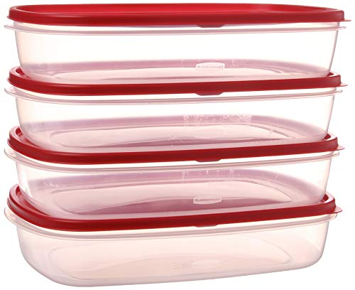 Rubbermaid 644766082353 Easy Find Lid Food Storage Container, BPA-Free Plastic, 1-1/2 Gal (4-Pack), Clear