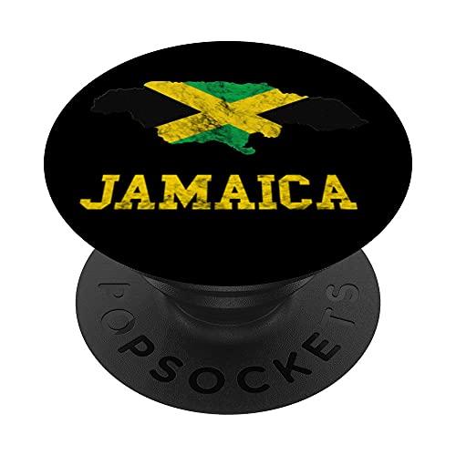 Jamaica Map Jamaican Flag Caribbean Trip Jamaica Roots PopSockets PopGrip Intercambiabile
