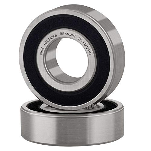 XiKe 2 Pcs 6203-2RS Double Rubber Seal Bearings 17x40x12mm, Pre-Lubricated and Stable Performance and Cost Effective, Deep Groove Ball Bearings.