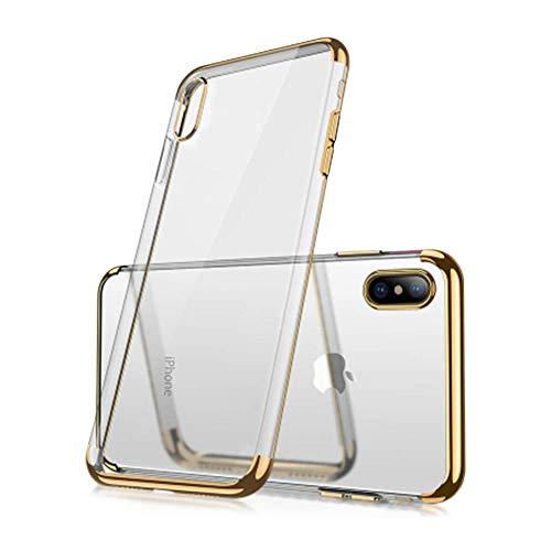 Cover Iphone Xs 5.8'crystal Clear (2018), Cover Iphone X (2017), [cover Iphone Xs Trasparente]in Tpu Silicone Ultrasottile Antiurto Morbido Con Rivestimento Bumper Edge (gold)