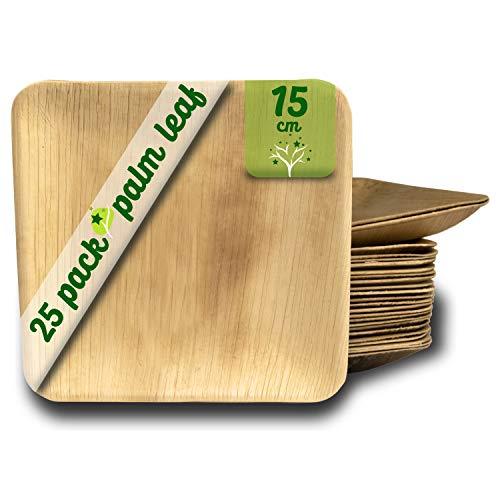 Assiettes en feuille de palmier 25 assiettes carrées jetables de 15 cm. Vaisselle en bois rustique pour barbecues et fête d'anniversaire.