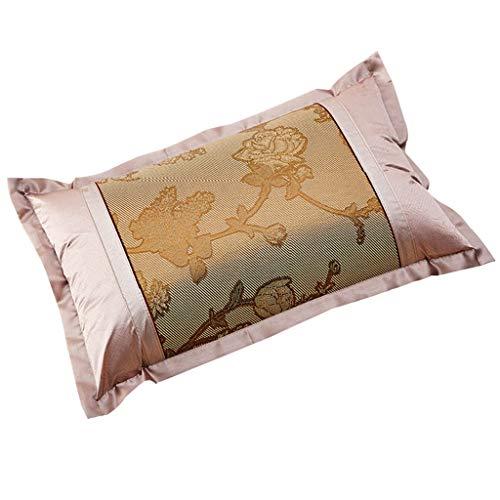 WERTDERTO Ice Silk Pillowcase zomer jacquard volwassenen beschikbaar enkele kussensloop rotan achtergrond kussens tweepersoonsbed verticaal en horizontaal 48 * 74cm Pair (kleur: bruin)