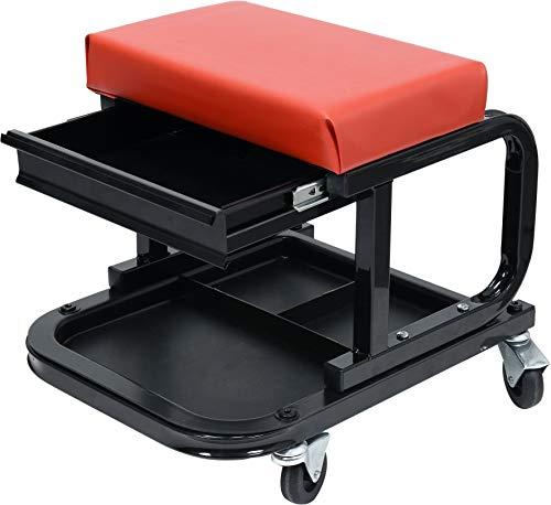 Yato Profi Werkstatthocker mit Schublade und Ablage, 360° drehbar, 4 Rollen, stabile und leichte Ausführung mit 150 kg Traglast, Werkstattstuhl Montagehocker Werkstattsitz