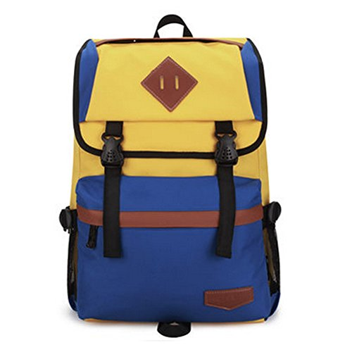Durable Casual School Bag Laptop Shoulder Bag Travel Backpack,Blue/Yellow