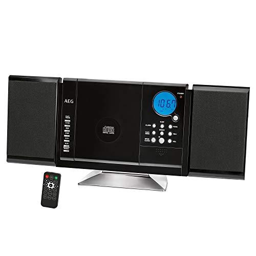 AEG MC 4421 N CD/MP3 Kompaktanlage inklusive Infrarot-Fernbedienung, UKW-PLL-Radio, USB-Port, Card Slot, LCD-Display (blau beleuchtet), 2 abnehmbare Lautsprecher, Wandmontage möglich, schwarz