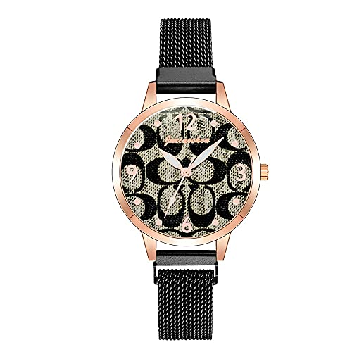 CXJC Reloj de Deportes Redondo de 36 mm. Reloj de Cuarzo Impermeable de la Moda de Las señoras. Correa de Material de aleación. Multi-Color Opcional (Color : Re)