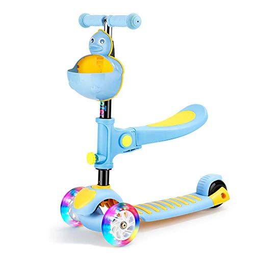 MIAOYO Kick Scooter Ajustable Srowdler con Asiento, PU Flash Wheel Kick para Niñas De 2-12 Años, 3-En 1 Levantamiento Amortiguador Amortiguador Adulto Juguete para Niños,Azul