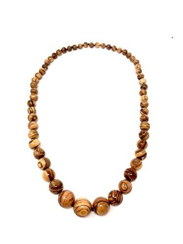 Halskette mit Perlen aus echten Olivenholz handgemacht auf Mallorca Holzschmuck Schmuck Handarbeit