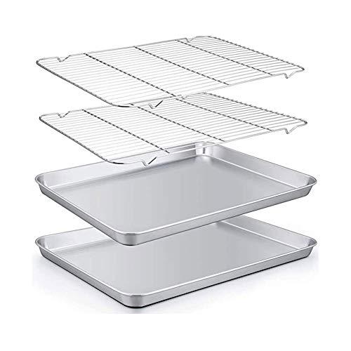 Bakplatenrekset, bakpanset van 2 vellen en 2 rekken, roestvrijstalen koekenpan met koelrek, maat 14 x 10,7 x 1,9 inch, niet-giftig, zwaar gebruik, gemakkelijk schoon te maken