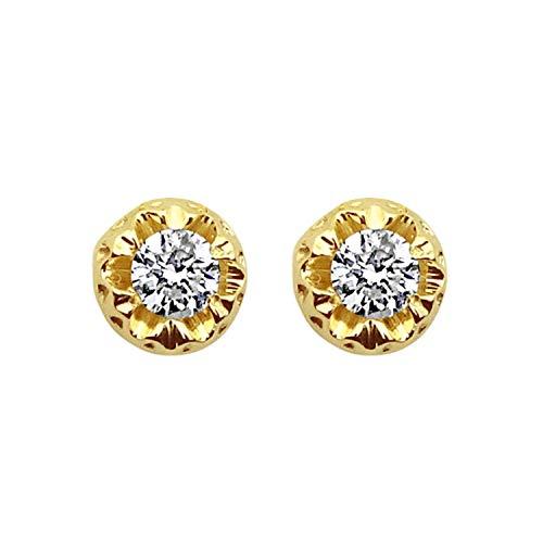 MILLE AMORI ∞ Orecchini Donna Oro e Diamanti ∞ Oro Giallo 9 Carati 375 Diamante 0,16 Carati ∞ Collezione Diadema + Luce + Volume