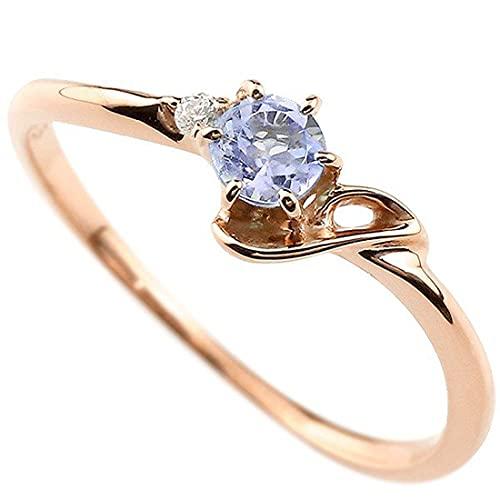 [アトラス]Atrus 指輪 レディース 18金 ピンクゴールドk18 タンザナイト ダイヤモンド イニシャル ネーム J ピンキーリング 華奢 アルファベット 12月誕生石 人気 26号
