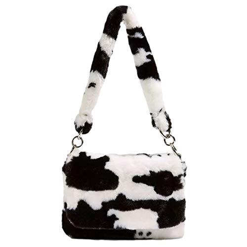 Bolso de hombro para mujer, diseño de leopardo de vaca, cálido, de felpa, suave, para viajes y fiestas.