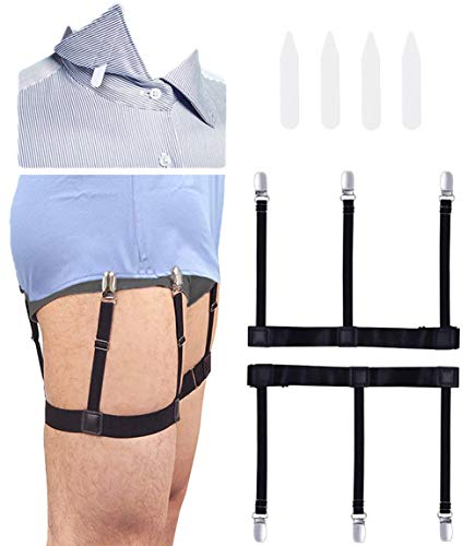 illuva Shirt Stay, Estancia de Camisa, Tirantes de la Camisa con Abrazaderas de Bloqueo Antideslizantes - 1 Paire