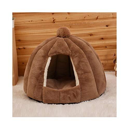YSJ LTD huisdier-katten-kave tent huis kennel winter warm dog nest opvouwbare slaapstoel mat puppy mand, kleine hond kat bed bruin
