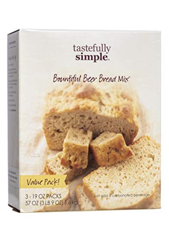 Tastefully Simple Bountiful Beer Bread Mix - Incredibly Easy to Make, Just Add Beer or Soda! - No Bread Machine Needed - Nothing Artificial - 3 x 19 oz