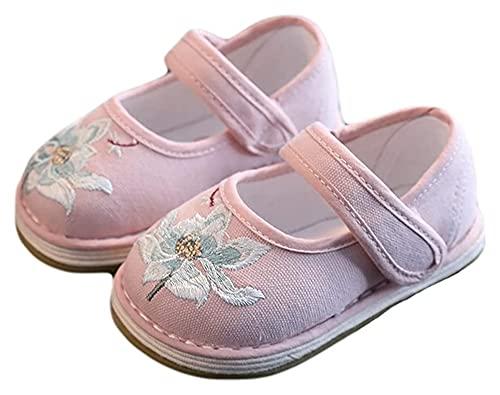AMDHZ Zapatos de bebé Zapatos de Tela niña niño Han Ropa China Zapatos para niñas Zapatos Bordados Sandalias Encajar Zapatos de Agua de bebé (Color : Pink, Size : 14cm)