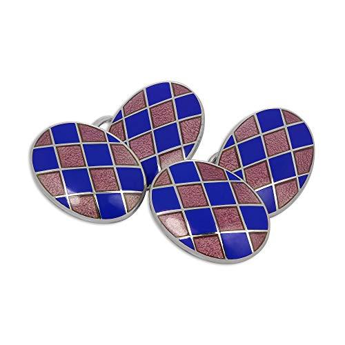 Boutons de Manchette Ovales Damiers Roses et Bleus en Argent 925/1000 et Email - A chaînette