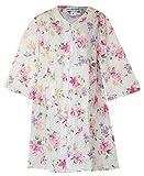 Miss Elaine Quilt-in-Knit Floral Print Zip-Front Short Robe (Medium, Blue Floral Print)