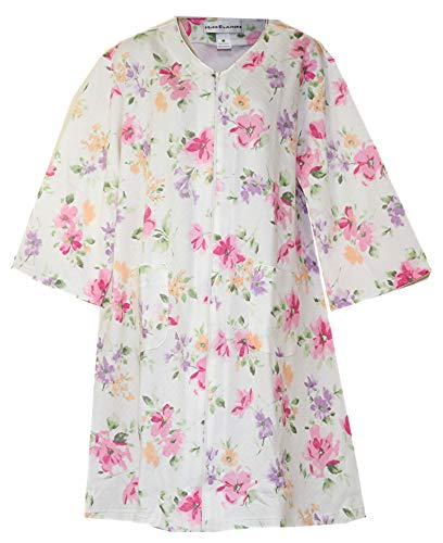 Miss Elaine Quilt-in-Knit Floral Print Zip-Front Short Robe (Medium, Blue Floral Print)