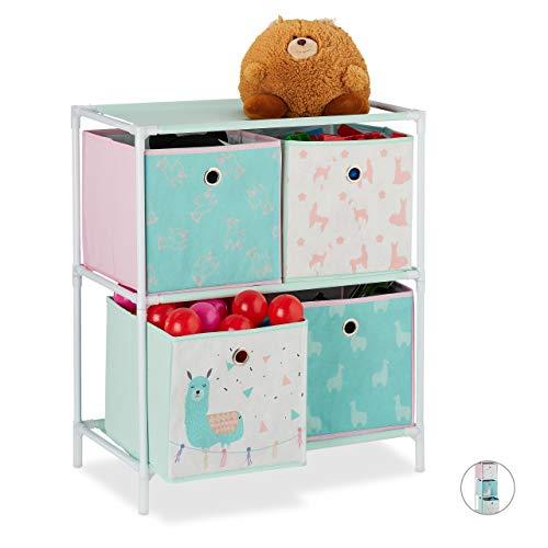 Relaxdays Kinderregal mit 4 Boxen, Jungen & Mädchen, Lama-Design, Regal Kinderzimmer, Spielzeug, HBT 62 x 53 x 30, bunt