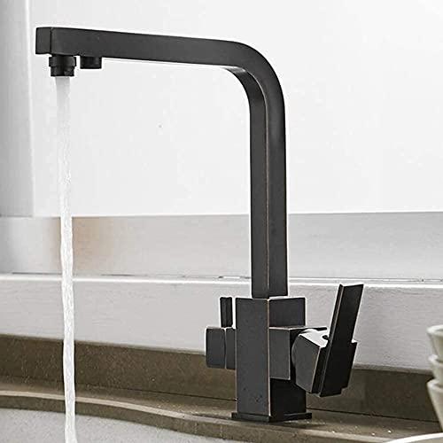 Longwc Grifo de la Cocina de 3 vías, Filtro de Agua, un eslabón Giratorio 360 °, 2 palancas de latón