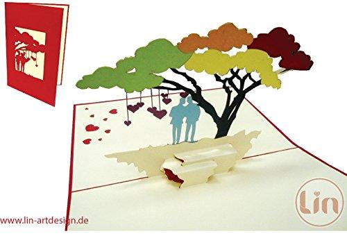 LIN-POP UP Karten homosexuelle Hochzeitskarten, Hochzeitseinladungen, 3D Karten Grußkarten Hochzeit, Hochzeitsglückwunsch,  Glückwunschkarten gleichgeschlechtige Ehe, Regenbogenbaum