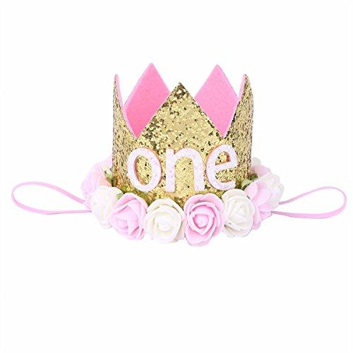 iiniim Baby Mädchen Krone 1.Geburtstag Kopfschmuck Stirnband Pailletten Kopf Accessoires Haarband Babyschmuck Gold A Einheitsgröße