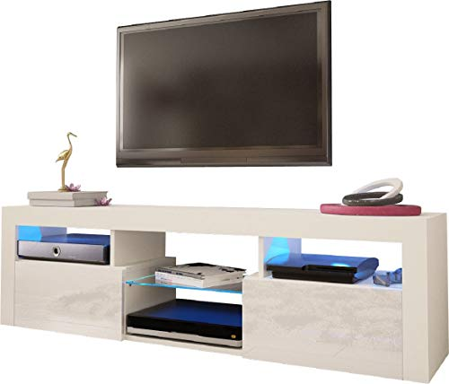 "Meble Furniture & Rugs Wall Mounted Floating 79"" TV Stand LED, Bari 200 (White)"