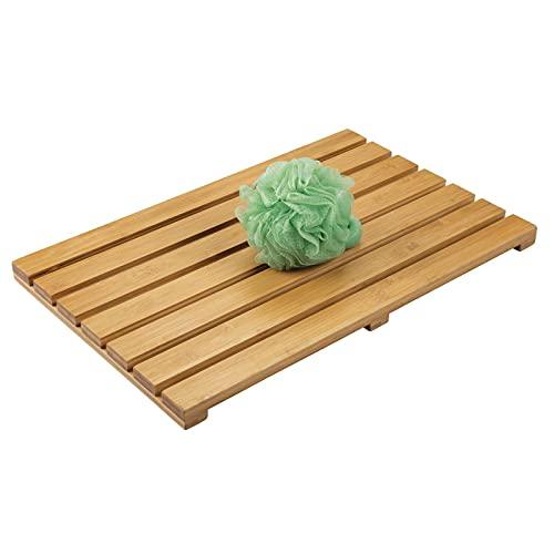mDesign 100% Bamboo Non-Slip Rectangular Spa Bath Mat - for Bathroom Showers, Bathtubs, Floors - Slatted Design - Indoor and Outdoor Use - Natural Light Wood