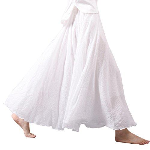 Kafeimali Women Bohemian Cotton Linen Double Layer Elastic Waist Long Maxi Skirt (White, 85CM-Length)