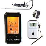 Termómetro digital para barbacoa, inalámbrico, para horno de cocina, cocina, ahumador, carne, con sonda y temporizador de alarma, de -20 ~ 300 ℃, color negro